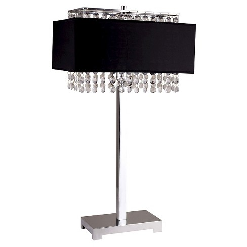 "27.5"" Antique Metal Floor Lamp with Rectangular Shade and Crystals Silver/Black - Ore International - image 1 of 1"