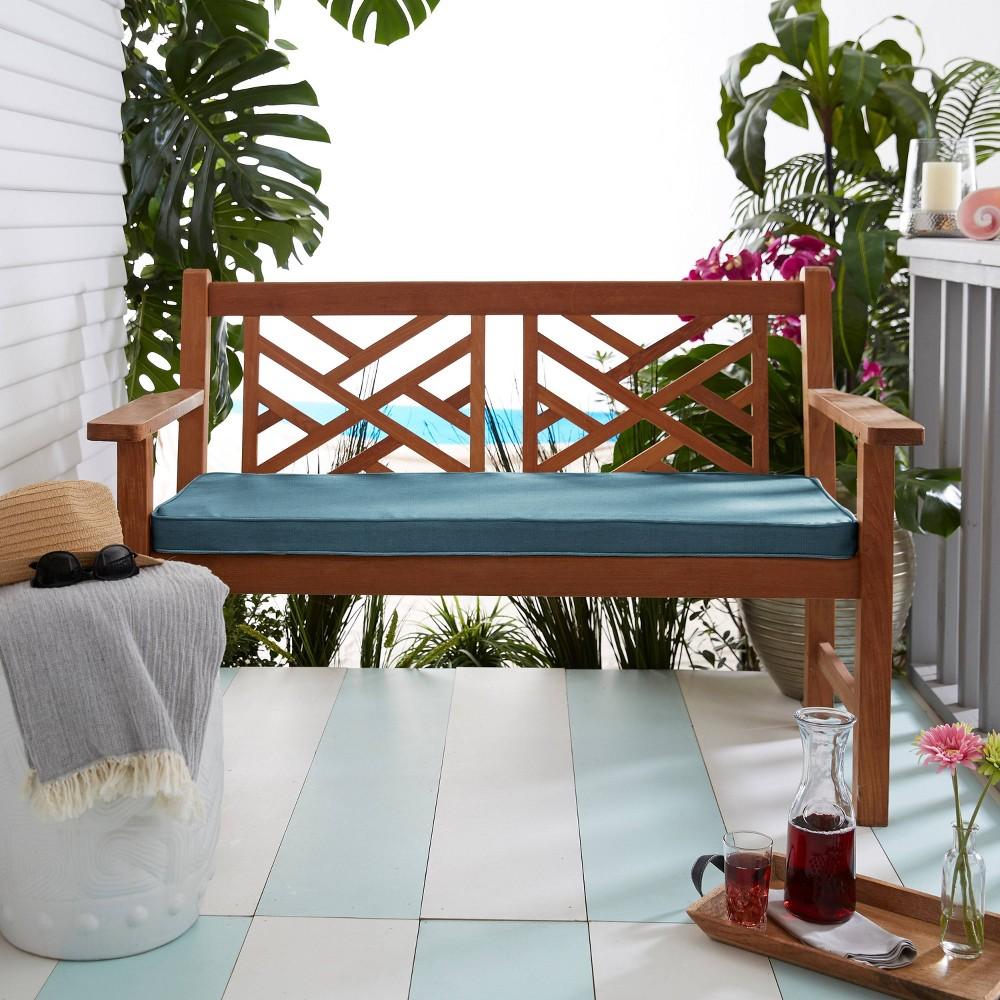 Sunbrella 48 34 X19 34 X3 34 Indoor Outdoor Corded Bench Cushion Denim Blue