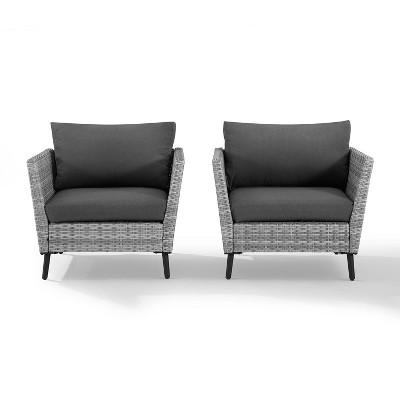 Richland 2pk Outdoor Wicker Armchairs - Charcoal - Crosley