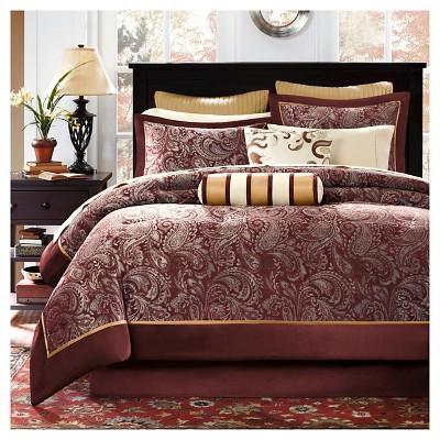 12pc King Churchill Jacquard Comforter Set Burgundy