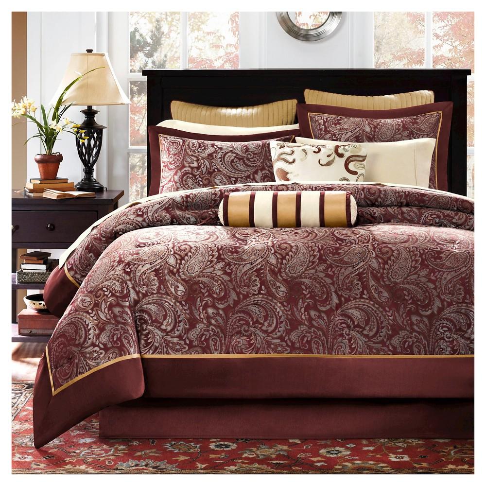 Image of 12pc Cal King Churchill Jacquard Comforter Set Burgundy