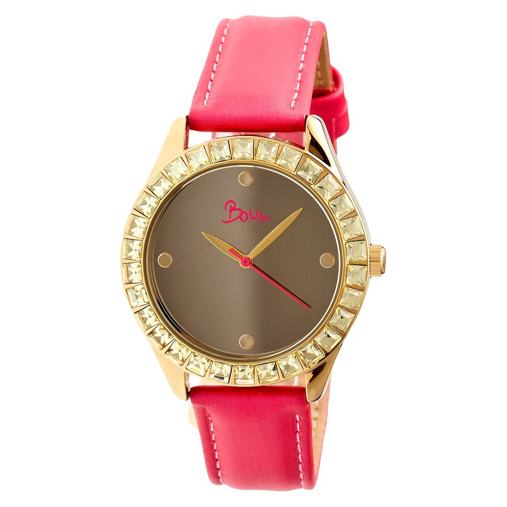 Women's Boum Chic Watch with Mirrored Dial and Crystal Surrounded Bezel-Pink, Pink