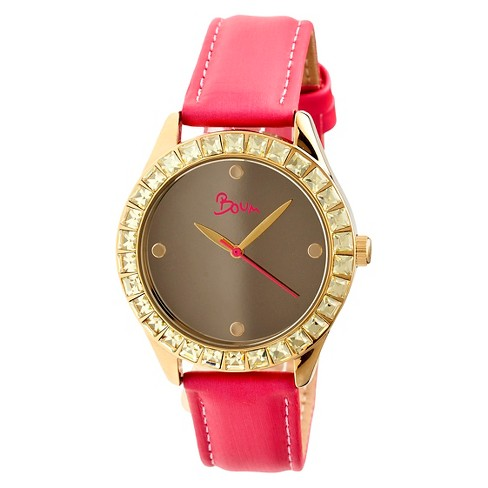Women's Boum Chic Watch with Mirrored Dial and Crystal Surrounded Bezel-Pink - image 1 of 3
