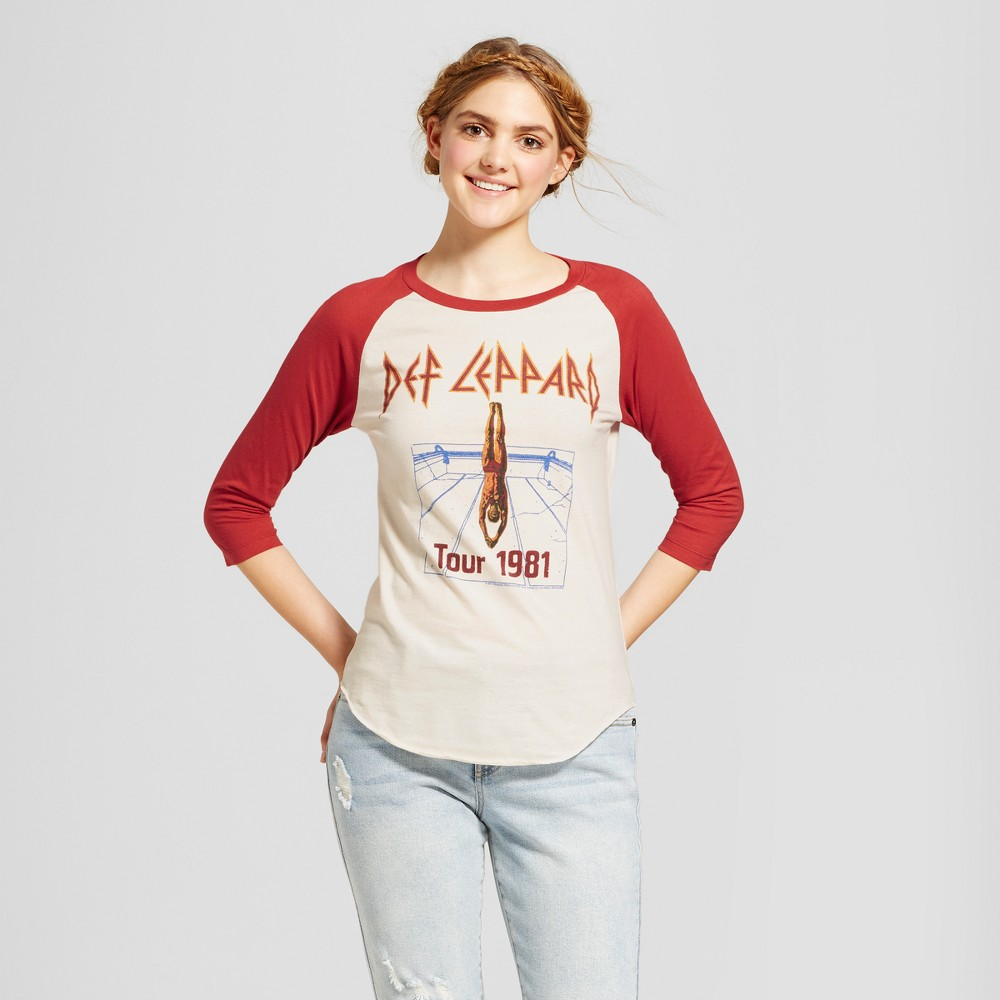Women's Def Leppard 3/4 Sleeve Raglan Graphic T-Shirt (Juniors') White/Red Xxl