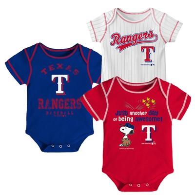 Texas Rangers Baby Boys' 3pk Short Sleeve Bodysuit - 0-3 M