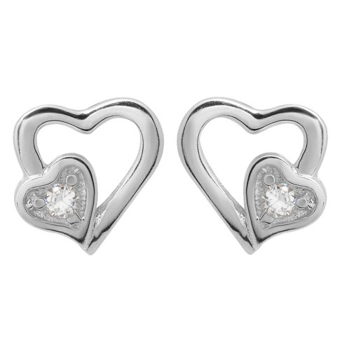 1/6 CT. T.W. Round Cut Cubic Zirconia Pave Set Heart Stud Earrings in Sterling Silver - Silver - image 1 of 3