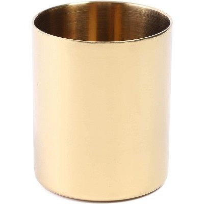 Juvale Metal Gold Pen Pencil Cup Holder, Stationery Desk Organizer Storage 3.2 x 3.9 in.