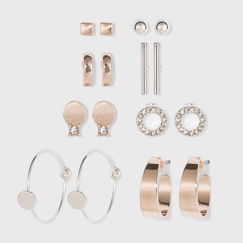 Zinc Stud Earring Set 8pc - A New Day™ Rose Gold/Silver - image 1 of 2