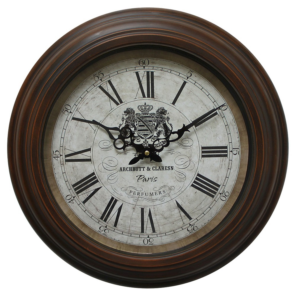 "Image of ""17"""" Round Wall Clock Brown - Yosemite Home Decor"""
