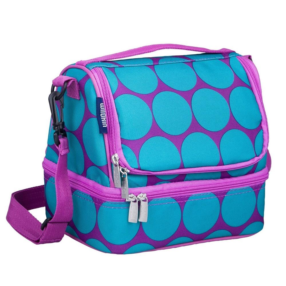 Wildkin Big Dot Aqua Dual Compartment Lunch Bag