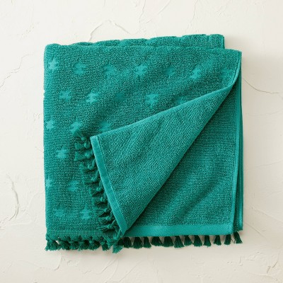 Jacquard Bath Towel with Fringe Teal - Opalhouse™ designed with Jungalow™