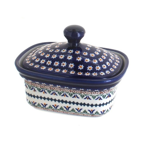 Blue Rose Polish Pottery Daisy Butter Tub - image 1 of 1