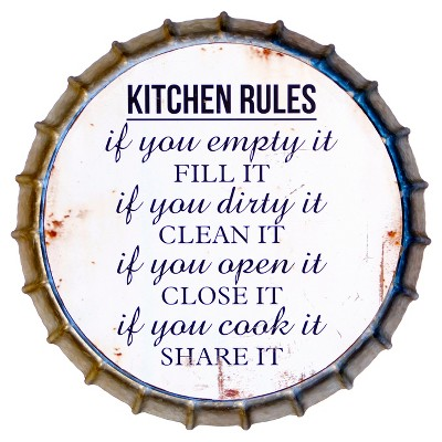 Kitchen Rules Bottle Cap Decor Sign White (16 x16 )- VIP Home & Garden