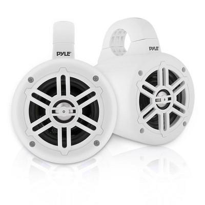 Pyle PLMRWB45W 4 Inch 300 Watt Waterproof Wakeboard Boat Marine Grade Tower Speaker System, Pair, White