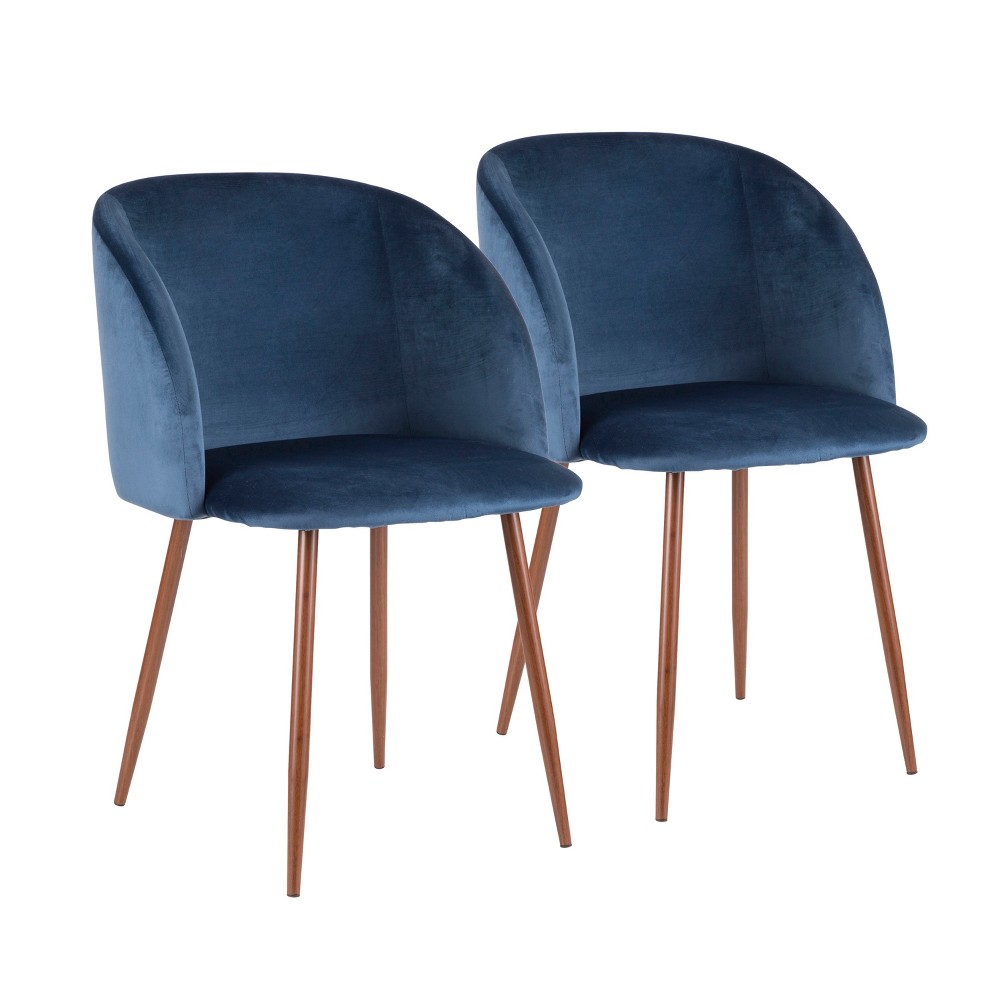 Fran Contemporary Dining Chair Walnut/Blue Velvet - Lumisource