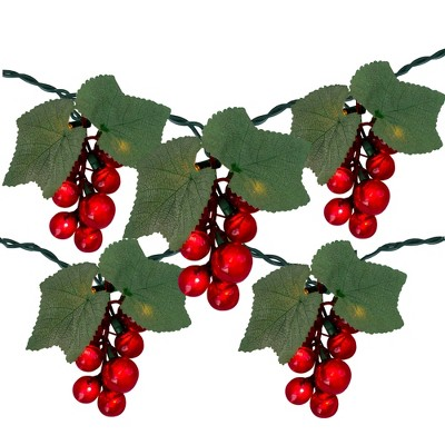 Northlight 5-Count Red Grape Cluster Outdoor Patio String Light Set - 6ft Green Wire