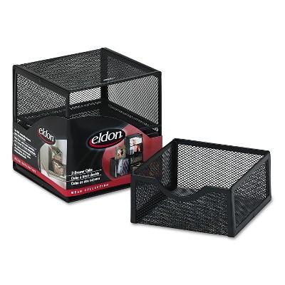 Rolodex Organization Two-Drawer Cube Wire Mesh Storage 6 x 6 x 6 Black FG9E5600BLA