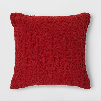 Diamond Knit Chenille Oversized Square Throw Pillow Red - Threshold™