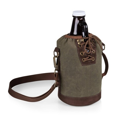 Legacy by Picnic Time Growler Tote with 64 oz. Glass Growler - Khaki Green - image 1 of 4