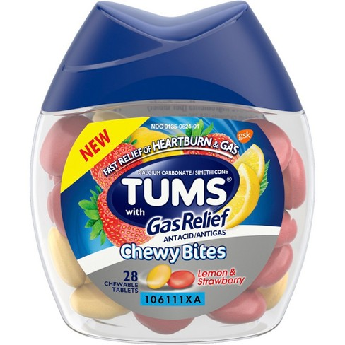 Tums Chewy Bites with Gas Relief - Lemon & Strawberry - 28ct - image 1 of 5