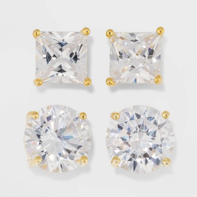Gold Over Sterling Silver Princess and Round Cubic Zirconia Stud Earring Set 2pc - A New Day™ Gold/Clear