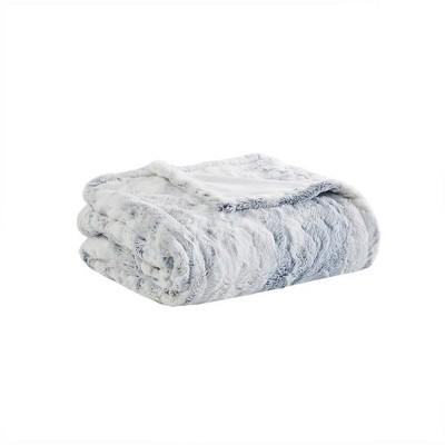 "50""X70"" Aina Marble Faux Fur Heated Throw Blanket Gray/Blue - Beautyrest"