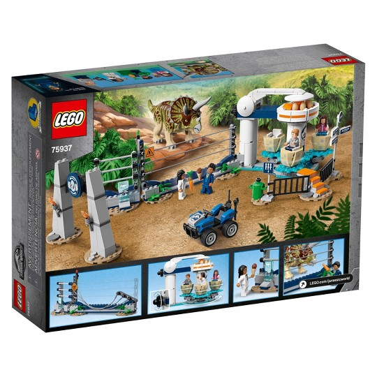 LEGO Jurassic World Triceratops Rampage 75937 Theme Park Building Set with Toy Dinosaur Figure 447pc image number null