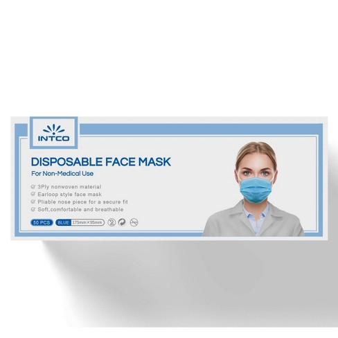 Intco Non-medical Disposable Face Mask - 50ct - image 1 of 4