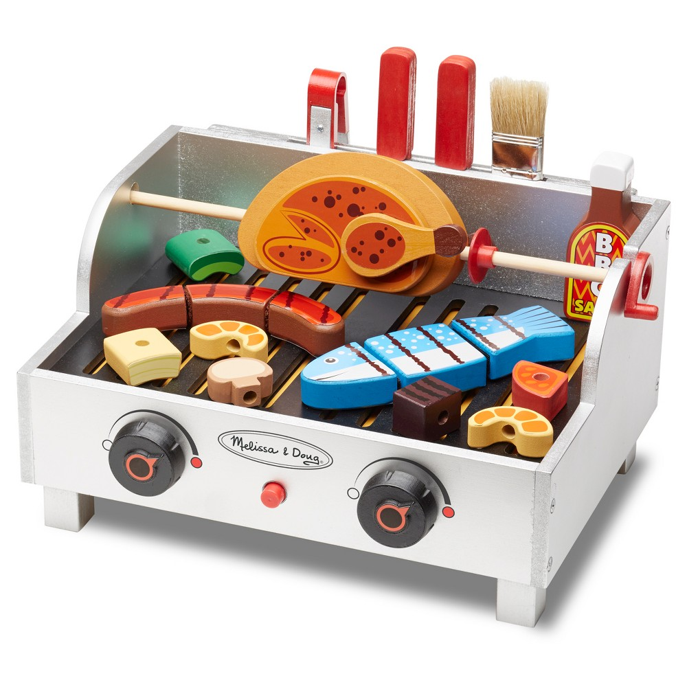 Melissa & Doug Rotisserie and Grill Wooden Barbecue Play Food Set (24pc)