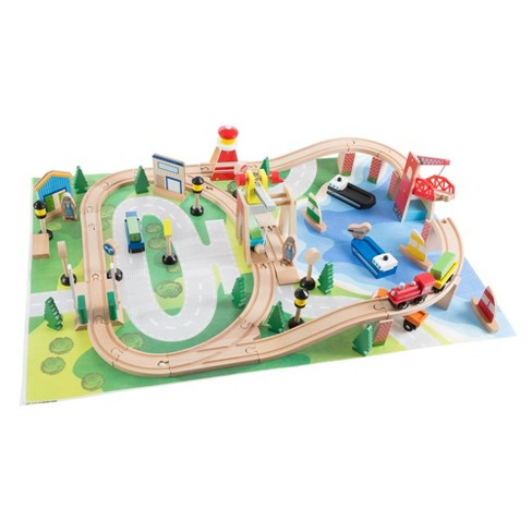 Hey! Play! Kids Deluxe Wooden Train Set with Play Mat - image 1 of 4