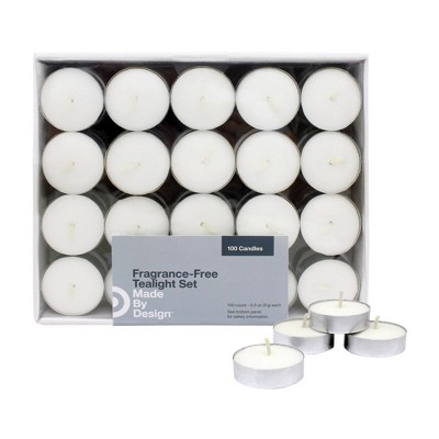 ".31"" 100pk Unscented Tealights Candles White - Made By Design™"