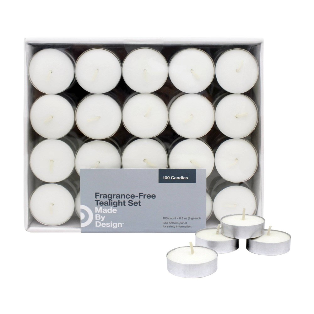 Image of .31 100pk Unscented Tealights Candles White - Made By Design