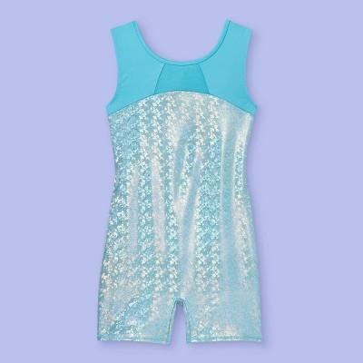Girls' Shimmer Foil Gymnastics Biketard - More Than Magic™ Turquoise