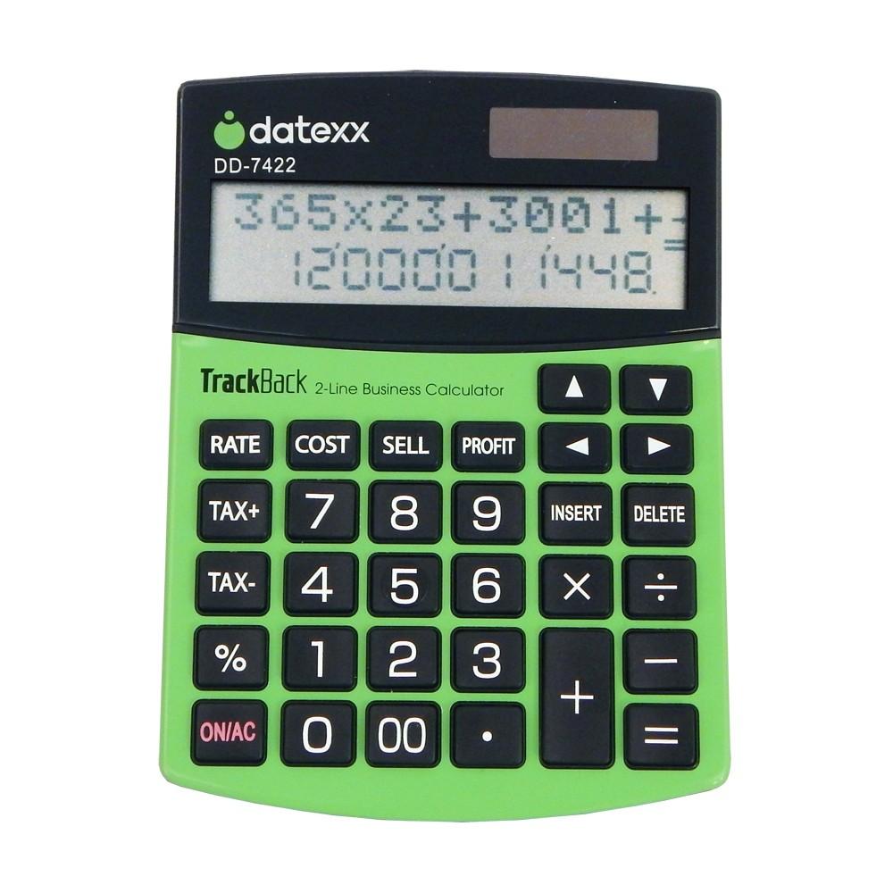 Datexx 2-line Profit Manager Desktop Calculator with TrackBack Journal - Green Slim (DD-7422)