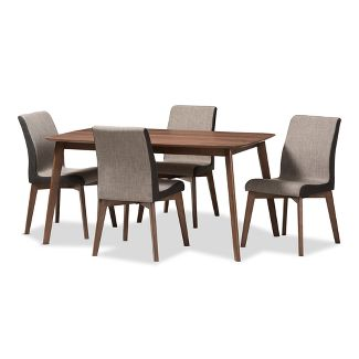 Baxton Studio 5pc Kimberly Mid Century Modern Fabric Dining Set Light Brown