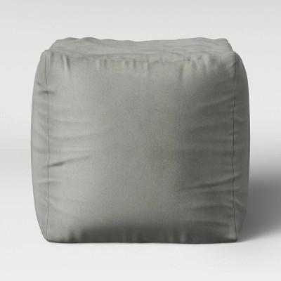 Velvet Pouf Sleek Gray - Room Essentials™