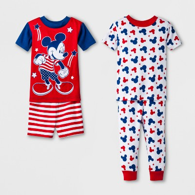 Baby Boys' Mickey Mouse 4pc Pajama Set - Red 12 M
