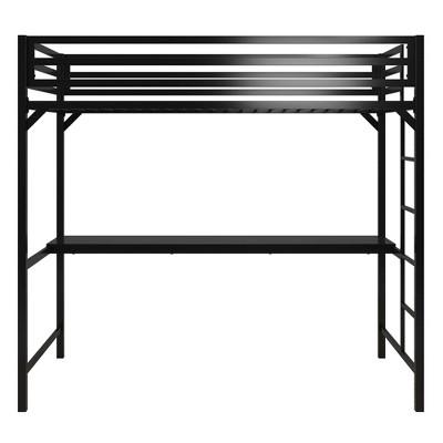 Twin Max Metal Loft Bed with Desk Black - Room & Joy