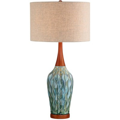 360 Lighting Rocco Blue Ceramic Mid-Century Table Lamp with Table Top Dimmer