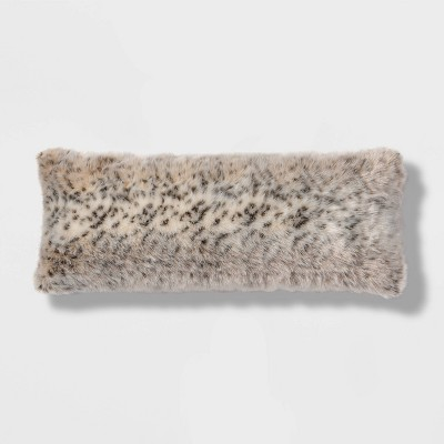 Oblong Oversized Faux Fur Decorative Throw Pillow Animal Print - Threshold™