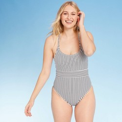 Women's Ribbed One Piece Swimsuit - Shade & Shore™ Black and White Stripe