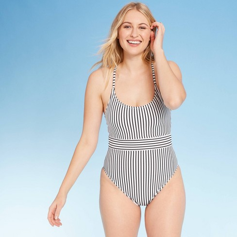 Women's Ribbed One Piece Swimsuit - Shade & Shore™ Black and White Stripe - image 1 of 4