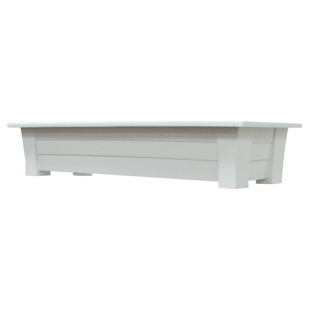 Image of 36 Rectangular Deck Rail Rectangular Planter - White - Adams Manufacturing