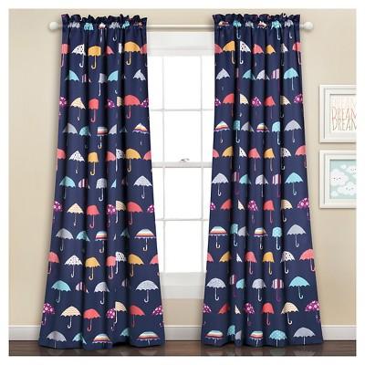 """52""""x84"""" Umbrella Room Darkening Window Curtain Set Navy - Lush Décor"""