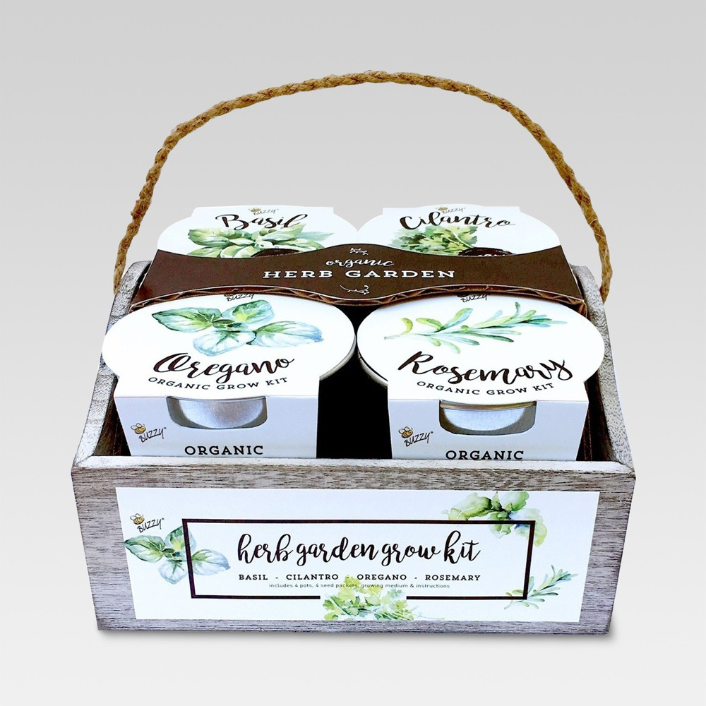 Image of 4 Organic Herb Garden Grow Kit - Buzzy Seeds