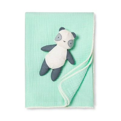 Gauze Baby Blanket & Plush Panda - Cloud Island™ Joyful Mint