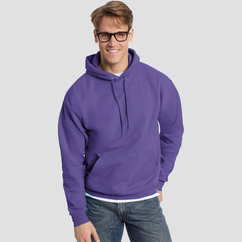 Hanes Men's Big & Tall EcoSmart Fleece Pullover Hooded Sweatshirt - Purple 4XL