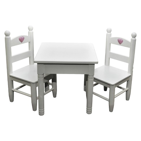The Queen S Treasures White Wooden Square Kitchen Table Two Chairs For 18 Dolls Target