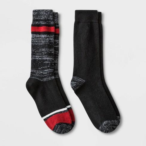Men's Striped Boot Socks 2pk - Goodfellow & Co™ Black 7-12 - image 1 of 2