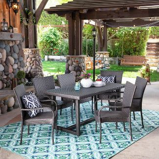 Melville 7pc Wicker Dining Set - Gray - Christopher Knight Home